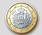 Coat-of-arms of the Republic of San Marino on 1-euro coin