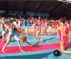 Gymnasts during opening ceremony
