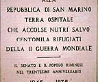 Commemoration plaque for the hospitality of San Marino to Italian refugees